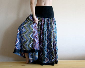 Fluffy skirt - Long skirt - Gypsy Skirt - Patchwork Maxi Skirt - Peasant Skirt - Black Blue and Violet multicolored skirt