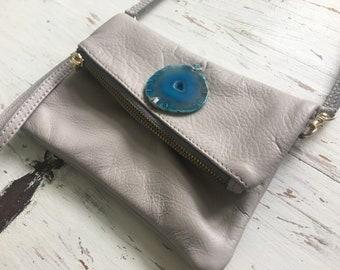 Leather gemstone handbag