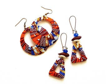 African Wax Print Wrapped Triangle or Round Earrings