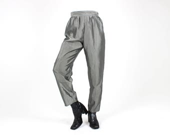 80s Metallic SILVER Shiny Lamé High Waist Tapered Tailored Slim Leg Trousers / Slacks / Power Suit Pants