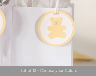 Baby Shower Tags, Teddy Bear Baby Shower Decorations - Set of 12 - Choose your colors.