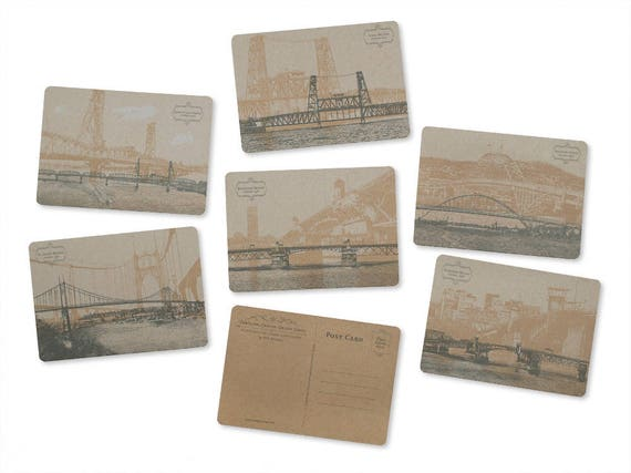 ON SALE!! - Portland, Oregon Bridge Postcard Series - Set of 6 Cards