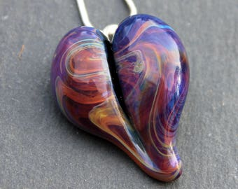 Heart Necklace Glass Jewelry, Flamework Pendant Lampwork Boro, Hand blown Amber Purple Heart Pendant