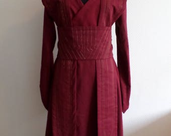 Reserved for Kenniegirl:payment #3 Burgundy linen Star Wars inspired Jedi robe and sith cloak