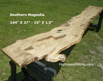 FINISHED Southern Magnolia Live Edge Table Top, Headboard Slab Ready For Use, Natural Buffet Table, Work Station, Artistic Bar Top 9031