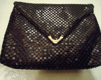 Vintage 1990s Black Mesh Handbag Clutch