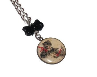 Kitten Bow Necklace, Kitsch Baby Animal, Black Bow