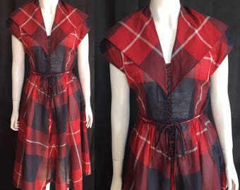 1940s plaid summer dress