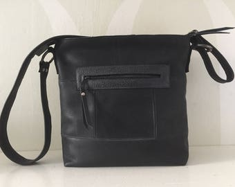 Leather Shoulder Bag VanStoel#218 BLACK