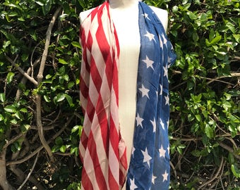 Beach coverup, American Flag poncho clothing, fourth 4th of July outfit, Red White and Blue, Stars and Stripes, Patriotic Scarf, PiYOYO