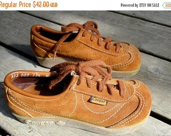ON SALE Kid's Vintage Cougars / 1970s  New Old Stock Suede Gummy Sole Shoes / Child size 13.5