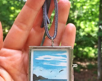 Mist At The Point - Original Gouache Painting in Glass Locket Pendant by Em Campbell