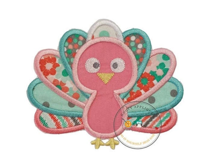 ON SALE NOW Charming pastel baby turkey embroidered fabric iron on applique - Thanksgiving turkey iron on applique for girls or baby - Ready