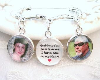 Gift for Groom Gift for Bride Photo Charms on Kilt Pin Lapel Memory Charm Keepsake Sympathy Gift Pet Loss Photo Charm Dog Memory Jewelry