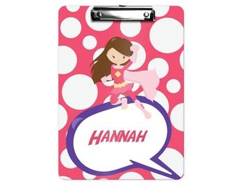 Superhero Personalized Kids Clipboard - Superhero Girl Pink Polka Dot, Single Sided or Double Sided Custom Clipboard Back to School