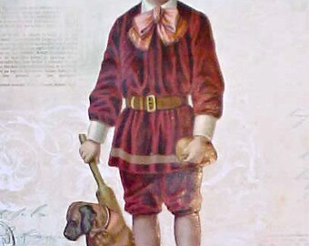 Large and Beautiful Victorian Scrap of Boy with His Dog