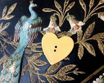 Pretty Butterscotch Heart Shaped Celluloid Antique Button