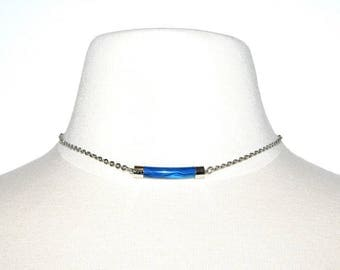 Vintage 70s SARAH COVENTRY Pizazz Blue Marble Pendant Silver Chain Choker Necklace