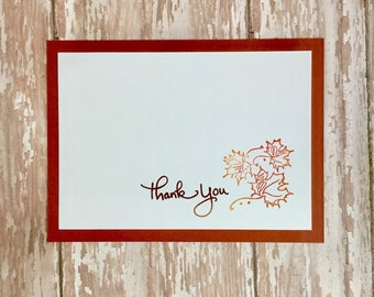 leaf thank you note cards, leaf note cards, fall thank you notecards,  fall leaf notecards, autumn thank you notecards,  thanks, 8 cards