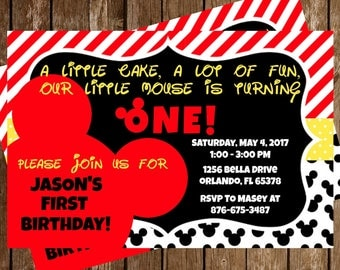 Mickey Mouse Disney Birthday Party Invitation Download 4 x 6 - Mickie Mouse Clubhouse