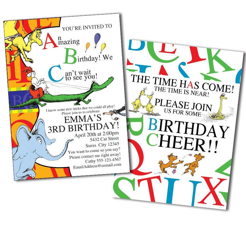 Dr. Seuss ABC Invitation Dr. Seuss Invitation Dr. Seuss
