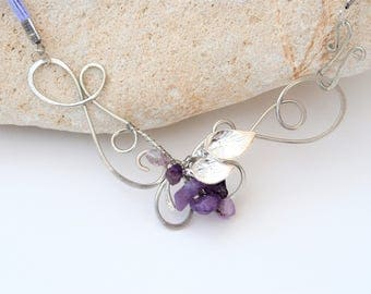 Silver color Wire necklace with Amethyst Statement necklace Purple gemstone Anniversary gift for her Mother's day gift Handmade jewelry