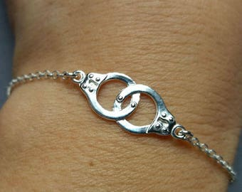Sterling Silver Handcuff Bracelet. Handcuff Bracelet.  Gift For Her. Layering Stackable Bracelet. Handcuff Jewellery.