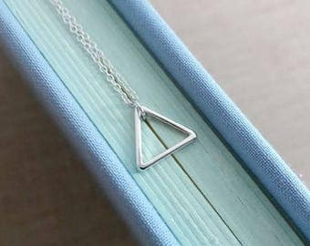Geo Triangle Necklace. Tiny Triangle Pendant. Geometric. Sterling Silver Triangle Necklace. Small Triangle. Minimal Dainty.Layering Necklace