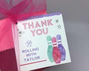 DIY Printable Bowling Party Themed Favor Tags - Lovely Little Party
