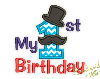 My First Birthday Number 1 Mustache Applique Embroidery Design HB083