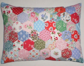 Patchwork Cushion - Hexagons in Laura Ashley & Cath Kidston Fabrics
