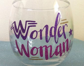 Wonder Woman Stemless Wineglass Pink Purple Gold Glitter Vinyl Star Decal