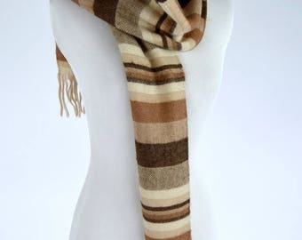 SUMMER SALE Vintage 1970's Brown Striped Scarf - long Soft woolen Winter Scarf - Medium length scarf