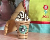 "Doll Drink ~ Fake Mocha Chocolate Swirl COFFEE Frappuccino Mini Smoothie | American Girl 18"" Doll Sized Drink"