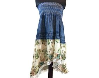 Hippie Dress, Hippie Skirt, Upcycled Clothing, Aymmetric Denim Dress, Asymmetric Skirt, Upcycled Denim, Boho Dress, Boho Skirt, Lagenlook