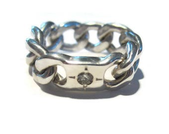 Diamond Ring  Silver ID Ring, Signet  Chain Link Ring Kinetic, Artisan Handmade  by Sheri Beryl