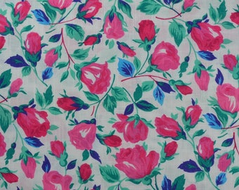 Vintage Cotton Floral Fabric, Vintage Fabric, Pink Rose Fabric, Pink Green Fabric, Vintage Floral, Pink Fabric - 2 1/2 Yards - CFL2314