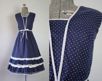 1960's Navy and White Polka Dot Sun Dress / Size Small