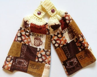 Cafe Ambiance Crochet Top Kitchen Hand Towel Set of 2