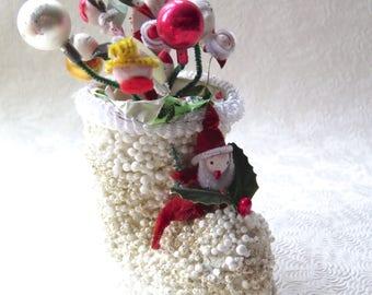 Spun Cotton Christmas Santa Boot Angel Snowman Made in Japan Paper Mache Styrofoam Glitter 1950s Retro Christmas Holiday Decor