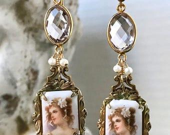 Portrait Earrings/ Vintage Earrings