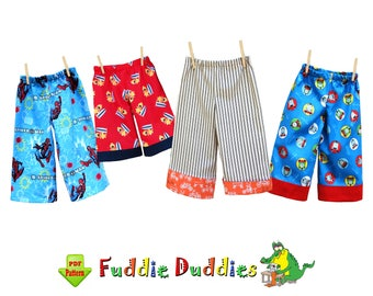 Toddler Pants Pattern pdf. Toddler Shorts, Ankle Biter Beach Shorts, Short Shorts, Lounge pants, Ruffle Pants. Digital DOWNLOAD Fuddie Duds