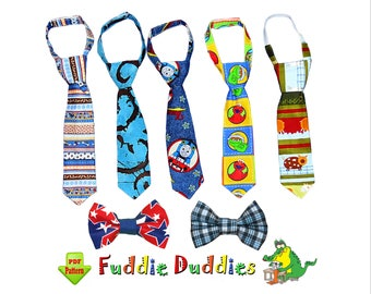 Tie Pattern & Bow Tie Pattern for Boys, Necktie Sewing Pattern. Toddler Tie. PDF INSTANT DOWNLOAD.  2 adjustable neck strap options. Noah