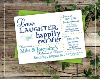 Printable Rehearsal Dinner Invitation - Fun Wedding Rehearsal Dinner Invitation - Blue, Love, Laughter, Happily Ever After Invitation