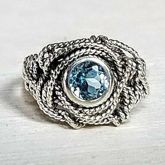 Blue Topaz Gemstone Argentium Silver Twist Wire Ring Size 6.5