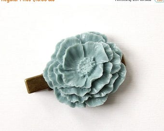 SUMMER SALE Vintage Style Beautiful Large Light Blue Hair Clip Antique Bronze Tone for Adults Formal Girls Wedding Bridesmaids
