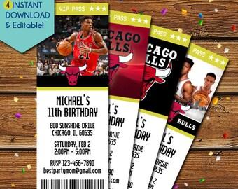 Chicago Bulls Invitation, Chicago Bulls Birthday Invitation, Chicago Bulls Party, NBA Basketball Invitation, NBA