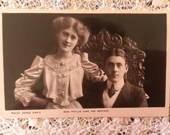 Phyllis Dare and Brother Jack - Edwardian actress - Vintage Photograph - Collectable Item - Vintage Theatre -