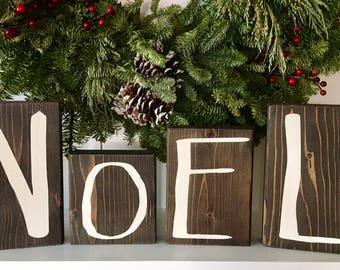 Christmas Decoration Mantle Decor Large Wood Letter Noel Blocks Christmas Gift Decor Farmhouse Rustic Hand Painted Wood Block Letters Noel