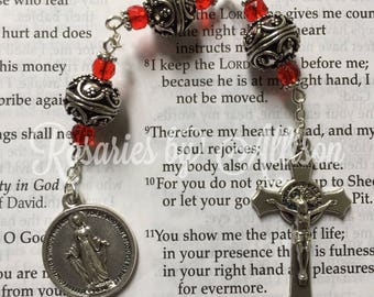3 Hail Marys Devotional chaplet with Ornate Silver beads and Ruby Rondelle Czech glass beads, Miraculous Medal and Benedictine crucifix